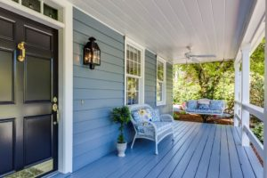 Front porch painted in different shades for the exterior of the home