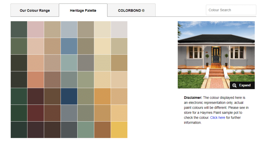 Haymes Heritage Colour Pallette