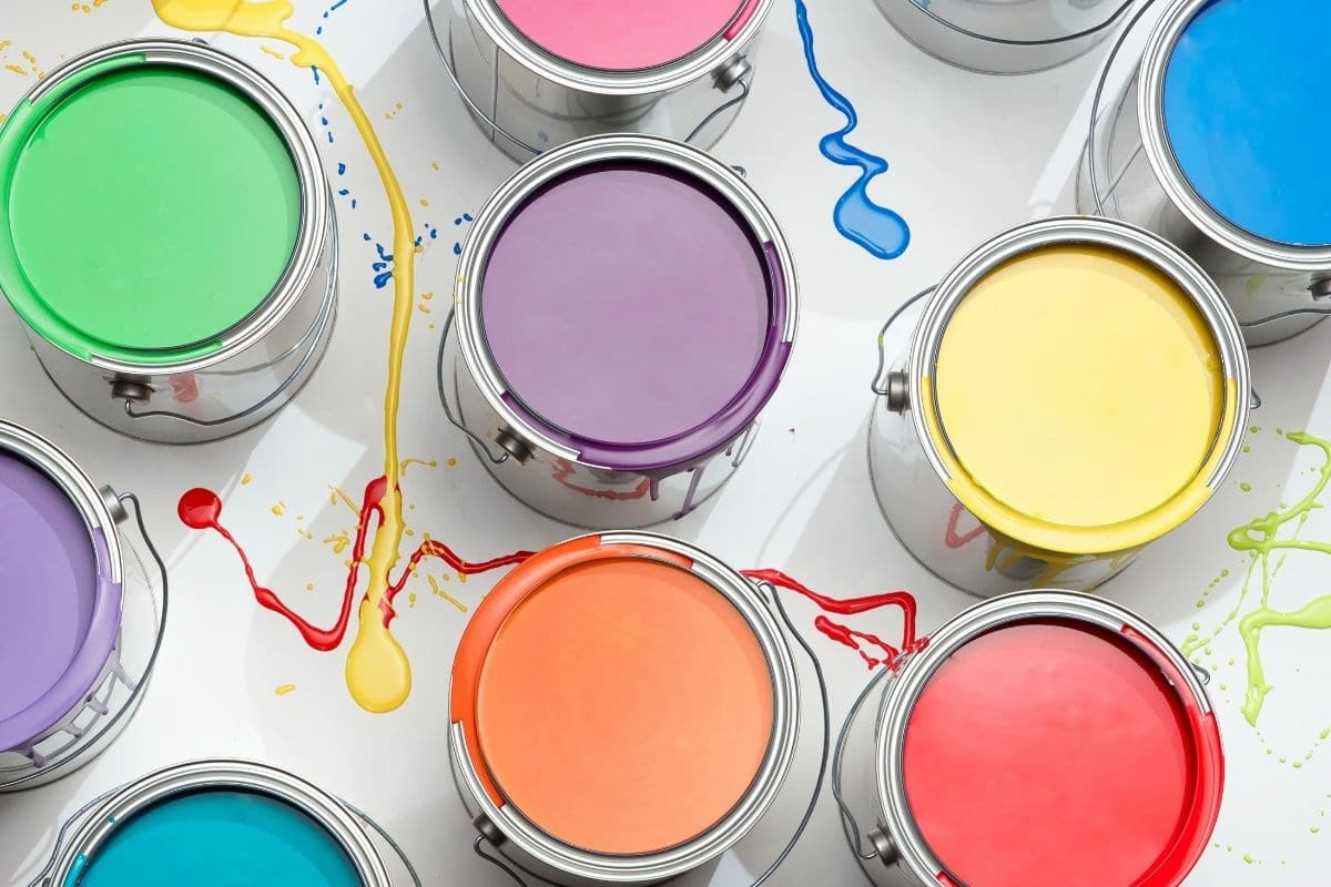 different coloured paint cans